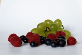 blueberries, raspberries and grapes