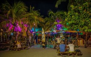 Bright night club on the caribbean