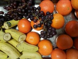 banana, mandarin, orange and grape fruit composition