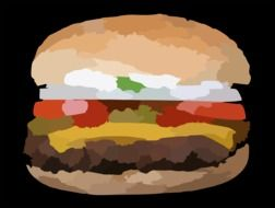 tasty and fresh hamburger, drawing