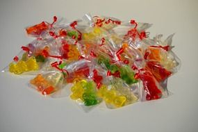 sweet gummi bears packed sachets different colors