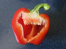 Cut in two red paprika pepper