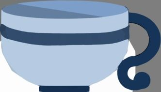 big blue tea cup as a graphic image