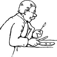 the man at the table as a drawing