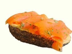 sandwich with butter and salmon