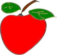 drawing of a red apple with two green leaves