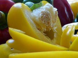 macro photo yellow paprika vegetables