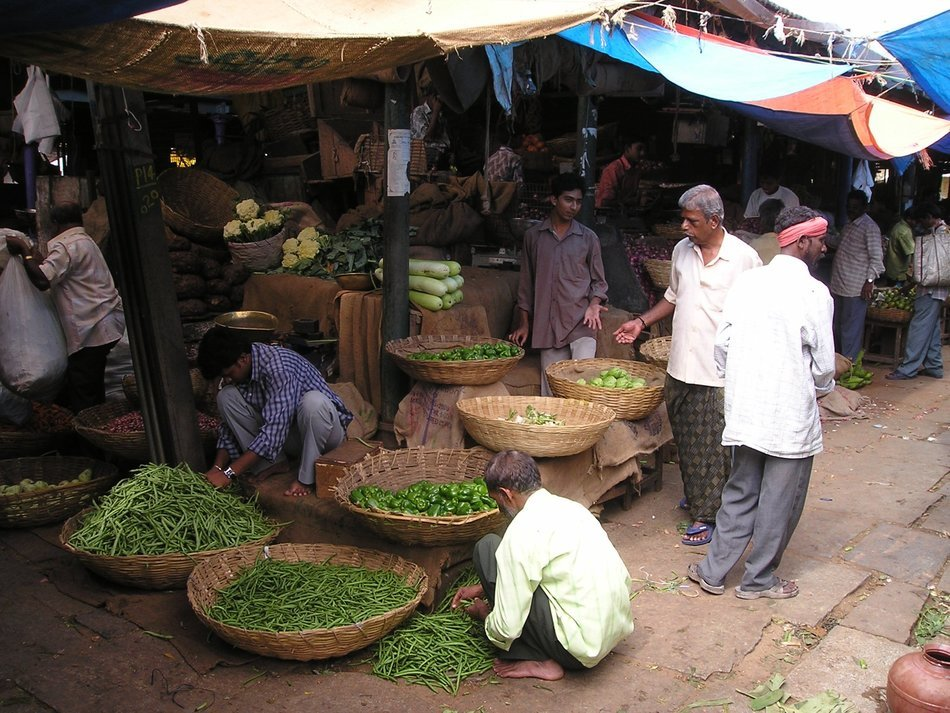 green fruit on the market in India