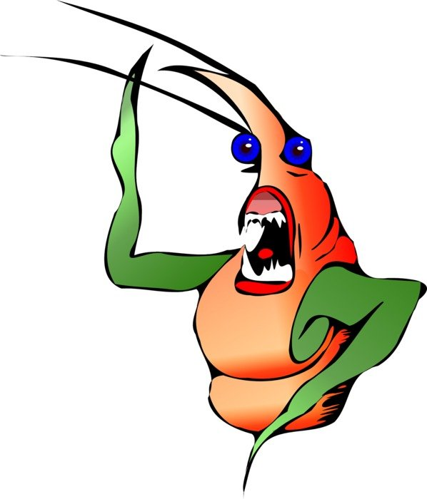 cartoon lobster with sharp teeth