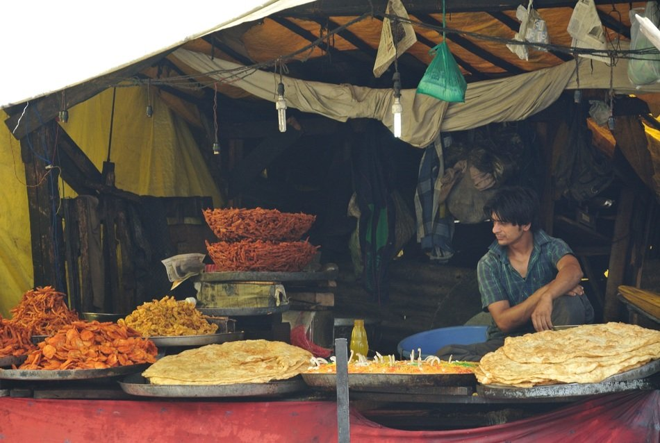 food market, india, kashmir