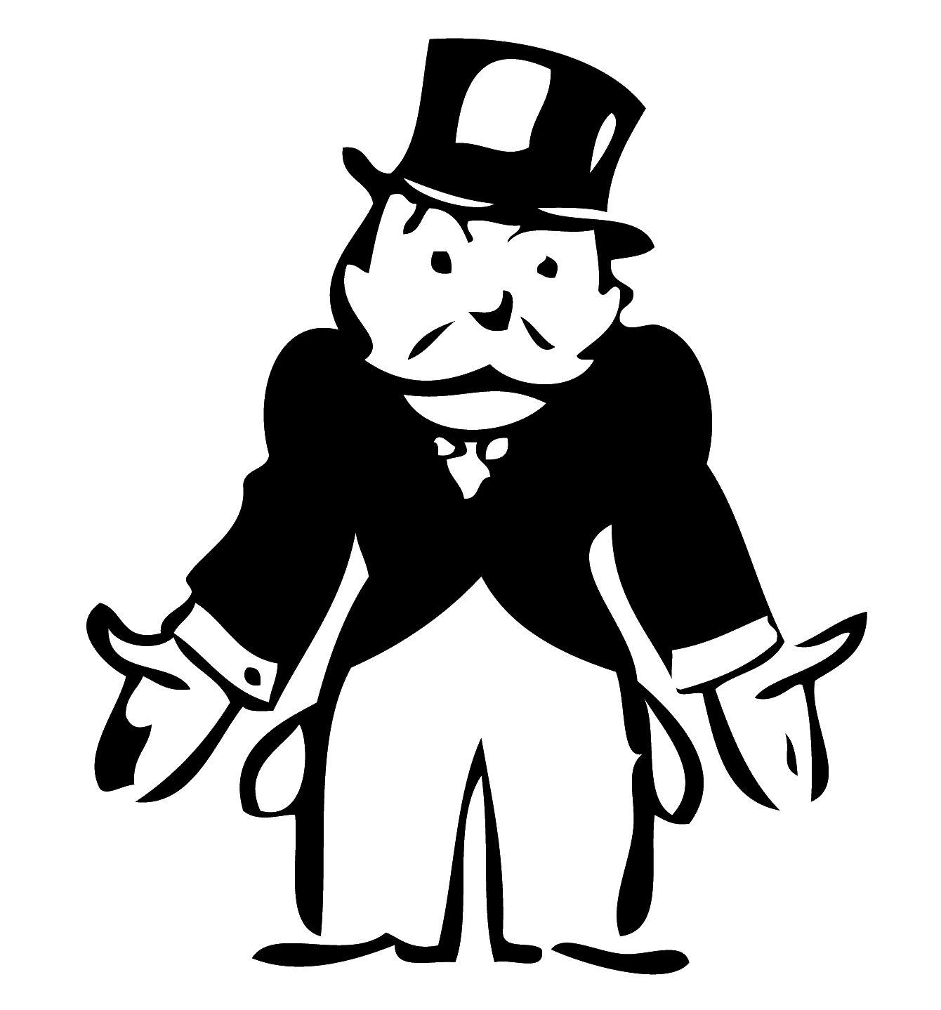 This is a graphic of Terrible Monopoly Man Drawing