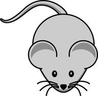 cartoon gray mouse with tail on a white background