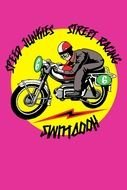 Cartoon Funny Motorcycle clipart