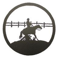 cowboy riding Horse along fence, Silhouette