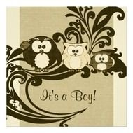 Owl Baby Shower Invitation Templates