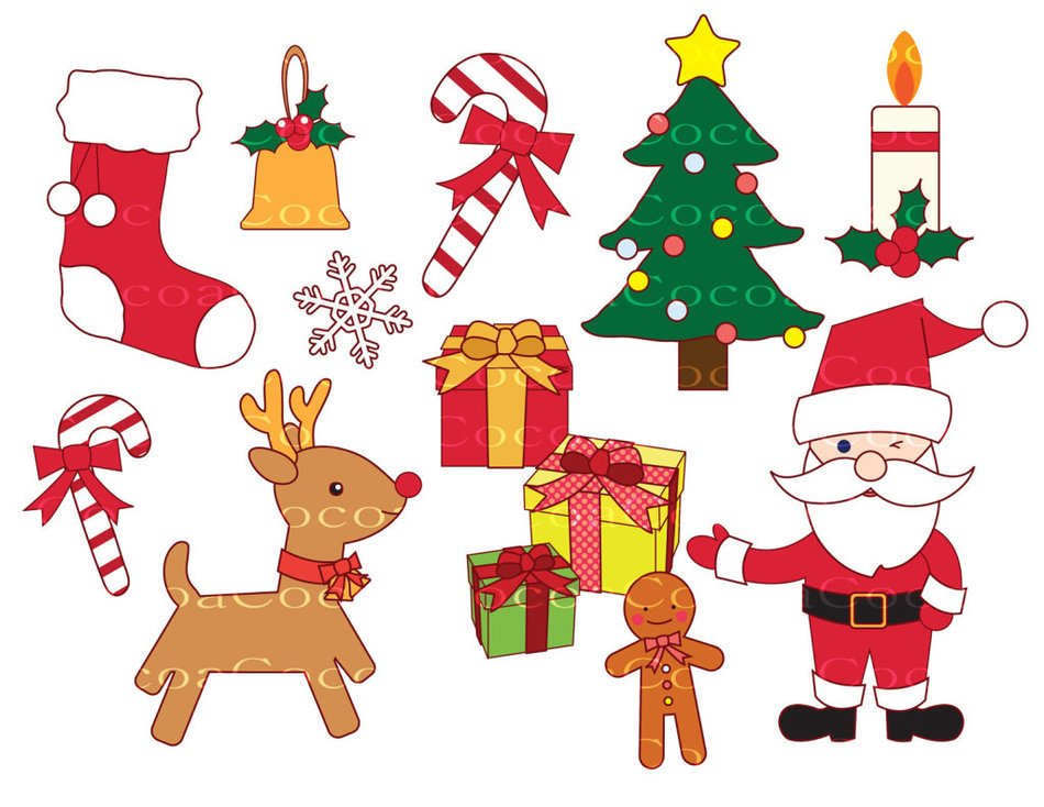 Colorful Christmas things clipart