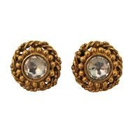gold round diamond earrings