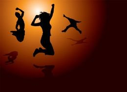 Silhouettes of the jumping people clipart