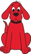Sitting red dog clipart