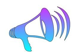 Blue Cheer Megaphone Clip Art