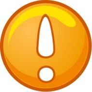 exclamation mark on an orange button