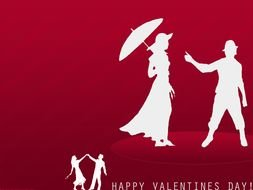 Happy Valentines Day card with dancing couple