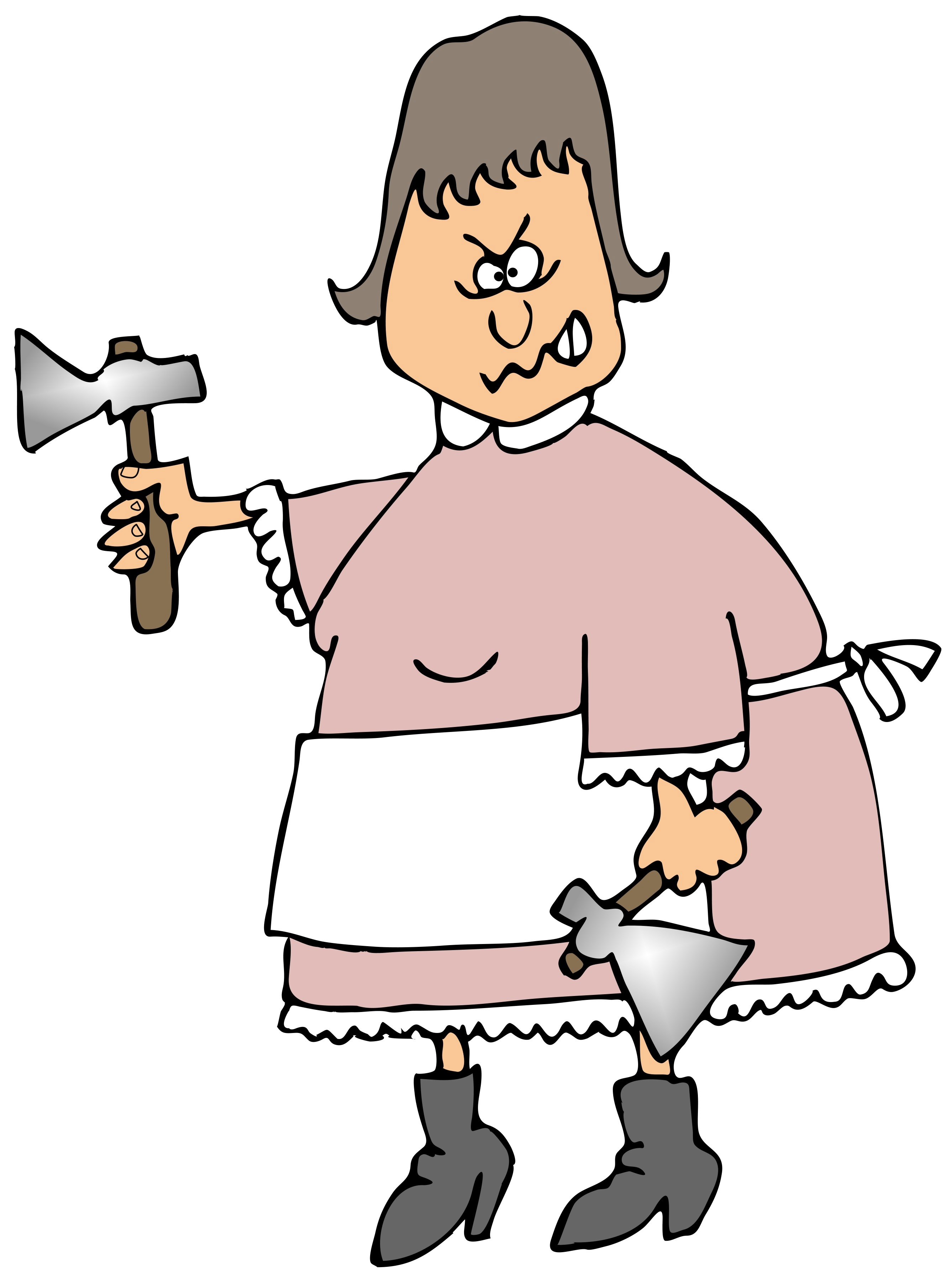 Cartoon Crazy Fat Woman With Two Axes Free Image