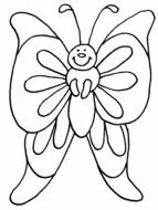 Black and white drawing of a butterfly clipart