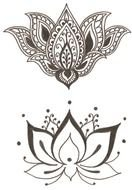 Black and white beautiful drawing of the lotus flowers clipart