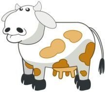 Colorful cute cow clipart