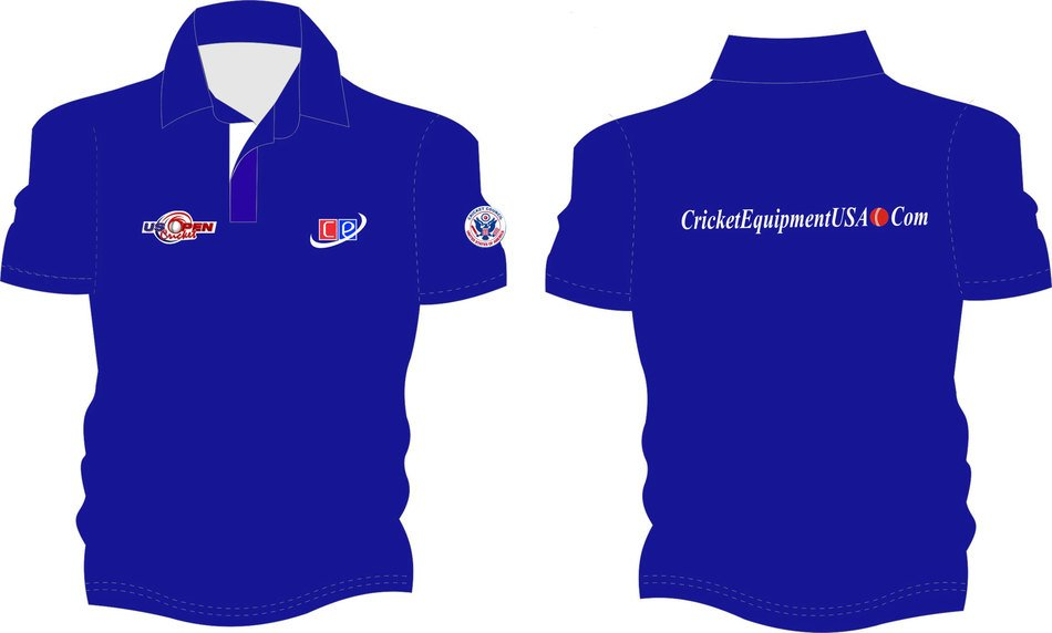 blue polo t-shirt with inscriptions