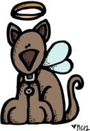 Colorful drawing of the colorful Angel Dog clipart
