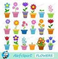 clipart with potted flowers