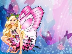 fairy in a pink dress on a colored background