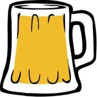 drawn beer mug on the white background