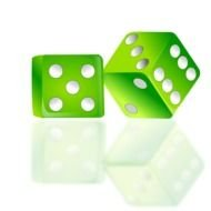 two green 3D Dices, render