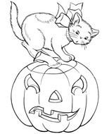 Pumpkins A Cat And Halloween Coloring Page