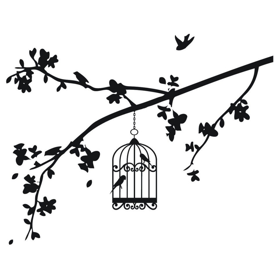 Black And White Drawing Of Birds in Cage on branch