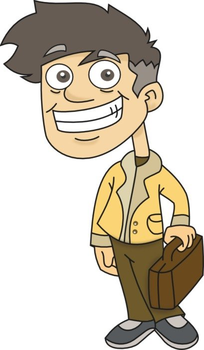Cartoon smiling man with the suitcase clipart