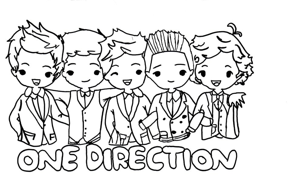 coloring page with One Direction cartoon characters