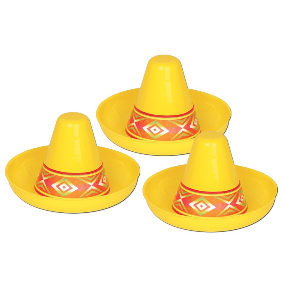 three yellow sombreros as a graphic illustration