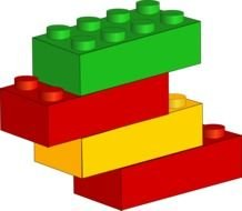 four LEGO Blocks in pile, Clip Art