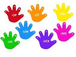 Colorful word hands clipart