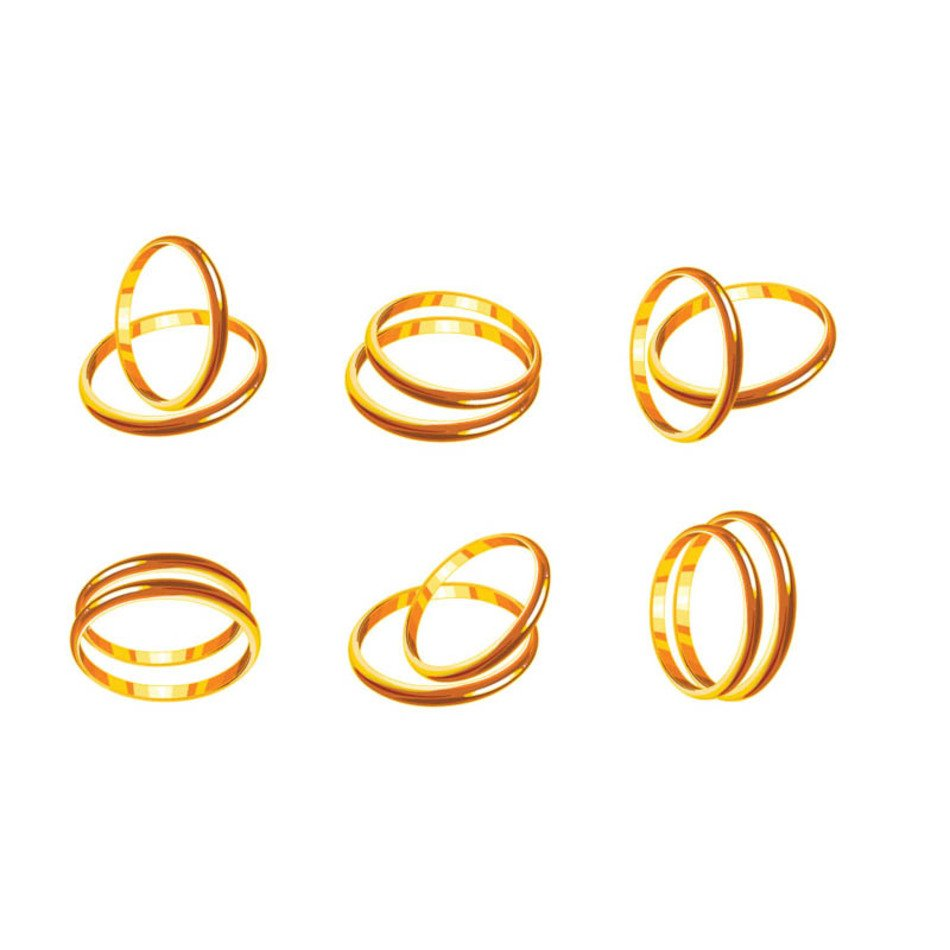 isolated gold wedding rings