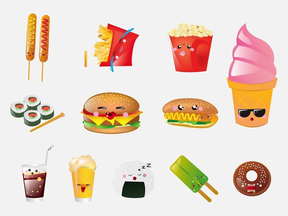 clip art with junk food
