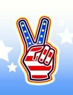 Peace sign fingers, American flag