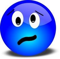 blue emoticon with upset expression