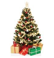 decorated christmas tree with gifts on a white background