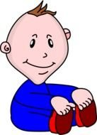 Cartoon sitting boy clipart