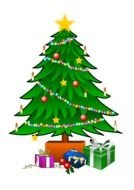 Colorful Christmas Tree with the gifts clipart
